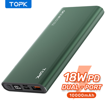 TOPK Power Bank 10000mAh przenośna ładowarka LED zewnętrzna bateria PowerBank PD dwukierunkowe szybkie ładowanie PoverBank dla iPhone Xiaomi mi tanie i dobre opinie Bateria litowo-polimerowa Rok wybudowania kable Cyfrowy wyświetlacz USB-A USB typu C CN (pochodzenie) Micro Usb Metal Przenośny Power Bank