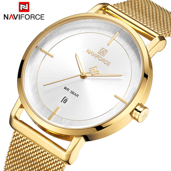 NAVIFORCE 3009 New Stainless Steel Bracelet Watch For Women Classic Minimalist Alloy Analog Ladies Quartz Wrist Watches