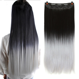 WTB Long Straight 5 Clip In Hair Extensions 3/4 Full Head Hairpieces Synthetic Natural Black to Grey Ombre Two Tones Fake Hair(China)