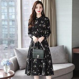 Image 2 - Jesień zima czarny Vintage, w kwiaty szyfonowa sukienka Midi Plus rozmiar sukienki w stylu Boho 2020 eleganckie kobiety strona z długim rękawem sukienka Vestidos