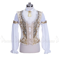 Custom Made Man White Chiffon Ballet Jacket Prince Ballet Top Gold Trims Dance Costumes For male Adult Boy Coat For Ballet BT990