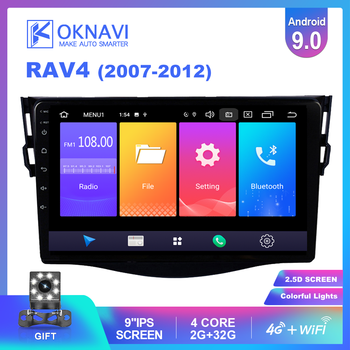 OKNAVI For Toyota RAV4 RAV 4 2007-2012 Car Radio Multimedia Player RAM 2G ROM 32G GPS Navigation BT FM 4G WiFi & 8 LED Camera image