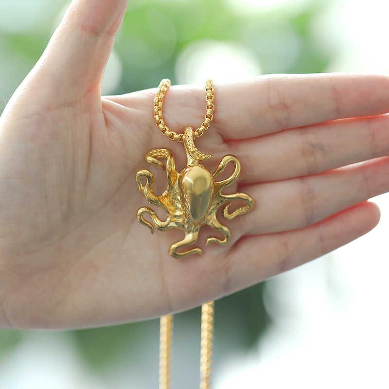 Pieuvre collier hommes femmes or poisson longue chaîne pendentif collier jeu De mots gothique bijoux tour De cou en gros Collares De Moda 2019