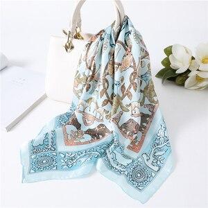 Luxury Brand Chain Print Silk Scarf Women Head Scarves for Ladies Suqare Neck Scarves Foulard Silk Shawl Lady Wrap Hair Kerchief