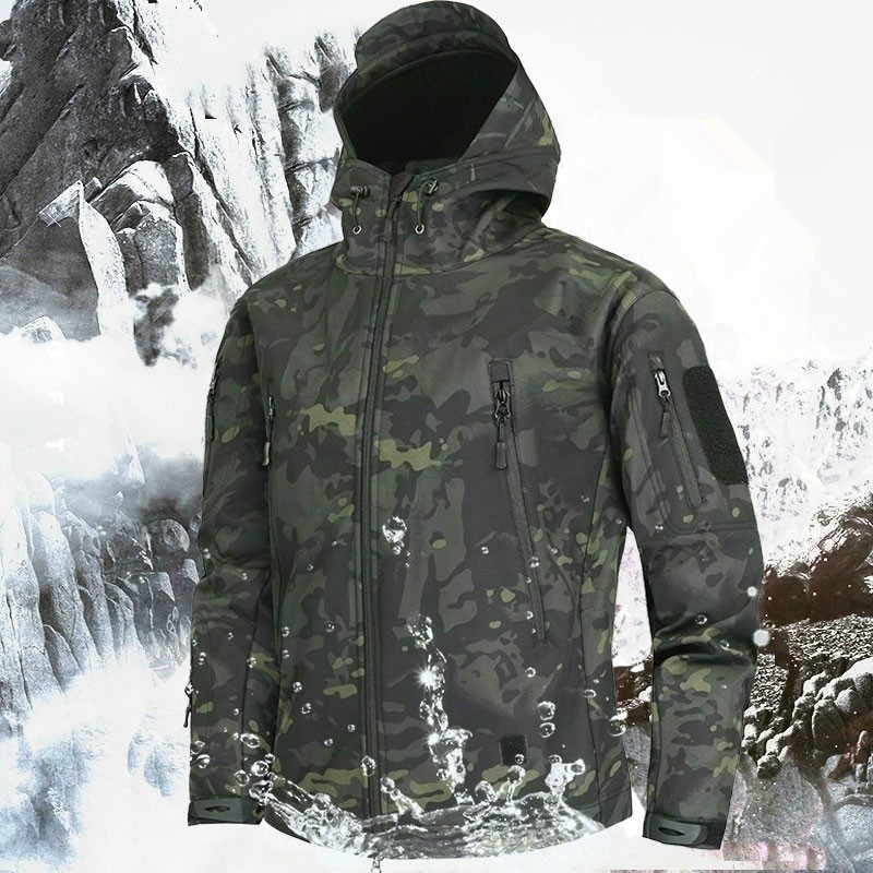 Men's Military Camouflage Fleece Jacket Shark Skin Soft Shell Military Tactical Jacket Multicam Male Camouflage Windbreakers 5XL