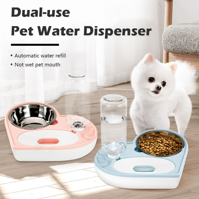 Automatic Water Dispenser For Cats/Dogs With Stainless Steel Food Bowl  1