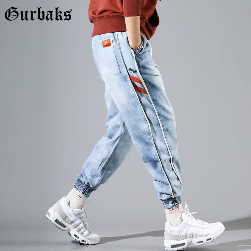 Gurbaks Drawstring Lace Jeans Men's Fashion Loose Hip Hop Ankle Banded Pants Men's 2019 Spring New Products Long Pants