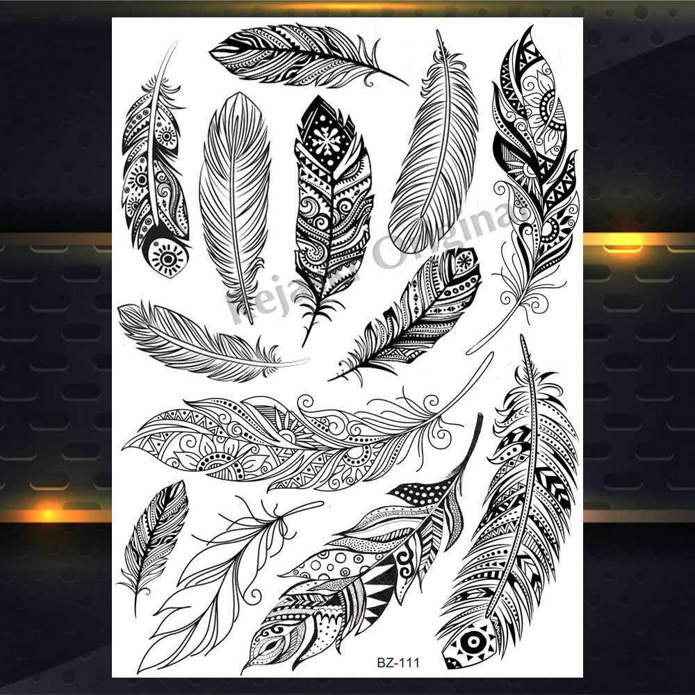 REJASKI Piuma Rosa Nero Hennè Mehndi Temporaneo Tatuaggi Per Le Donne Autoadesivo Falso Tatuaggi Catene Ciondolo Personalizzato Corpo Arte Del Tatuaggio
