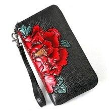 Hakiki deri cüzdan kadınlar uzun çiçek bayan deri cüzdan s inek deri el çantası büyük kapasiteli kadın çanta