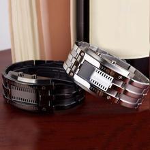 Модные парные часы для мужчин и женщин, креативные часы из нержавеющей стали, светодиодный браслет с датой, наручные часы