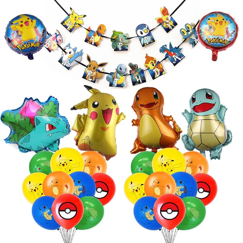 1 комплект pikachuing воздушных шаров из латекса с рисованным аниме тема Фольга шар баннер на день рождения с золотая молния вечерние декоративн...