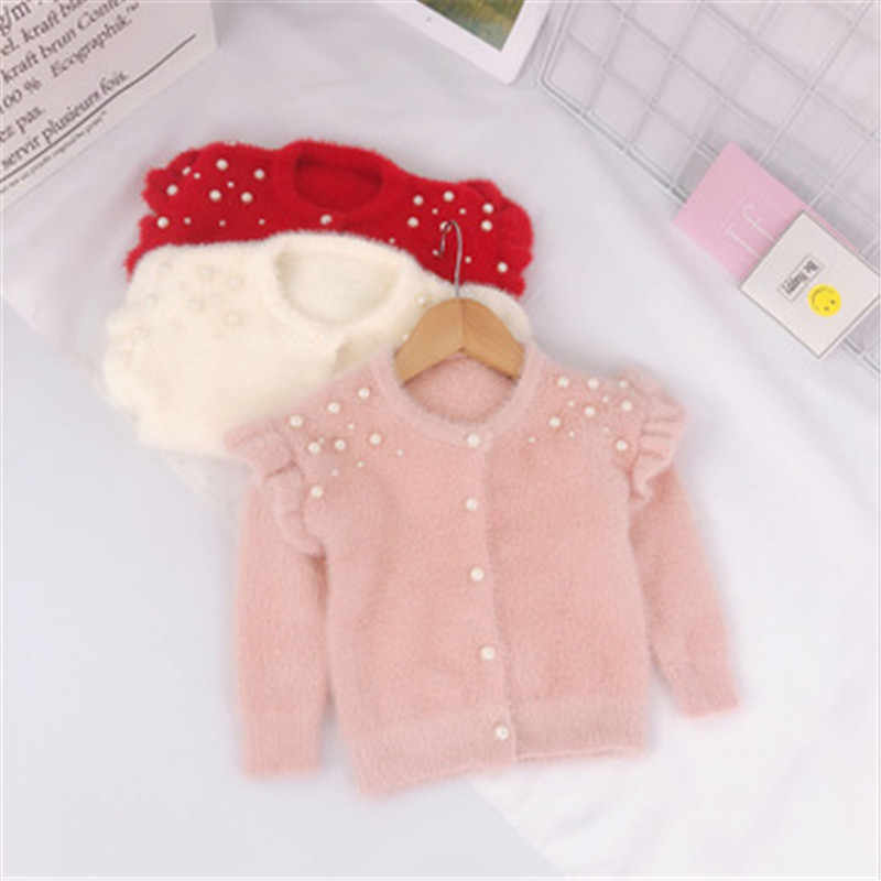 2020 Infant Baby Toddler Clothes Sweaters Knitted Pearls Cardigan Coat For Girls Kids Coats And Jackets Children Outwear AA3311