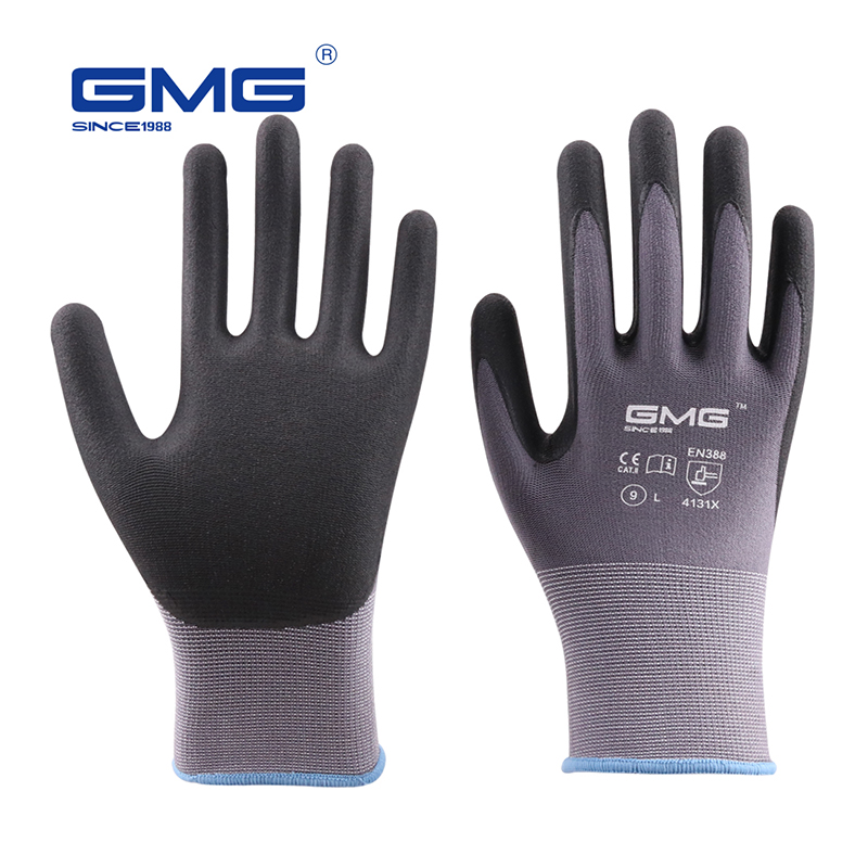 Hot Sale 2018 GMG Nylon Spandex CE Certificated EN388 Microfine Foam Gloves Nitrile Safety Working Gloves Men