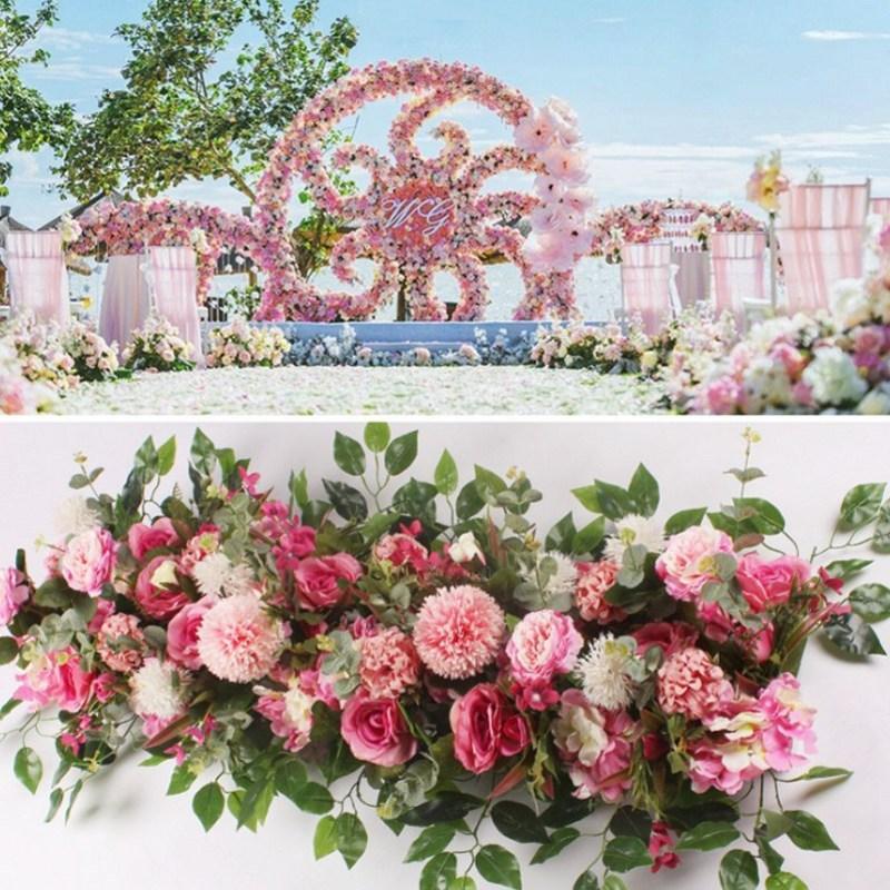Fleur de soie avec Base en mousse fleur artificielle rangée hortensia Rose pour décoration de porte route de mariage cité fleurs fond de mur