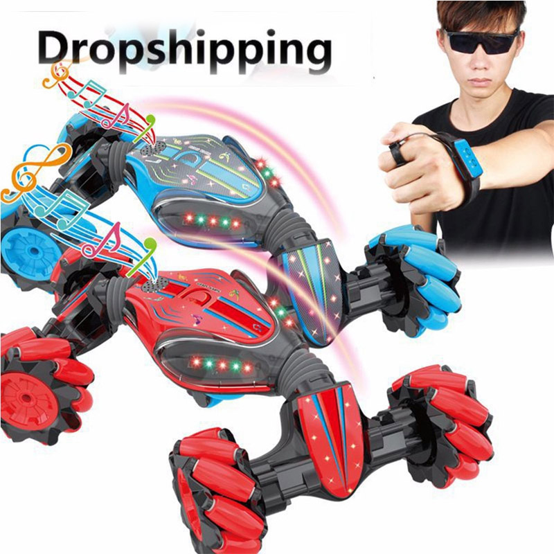 360 Degree Rotating RC Cars Gesture Sensing Twisting Vehicle Drift Car Driving Toy Gifts with 1200mAh Batteries Blue Remote Control Stunt Toy Car,Christmas Stunt RC Car