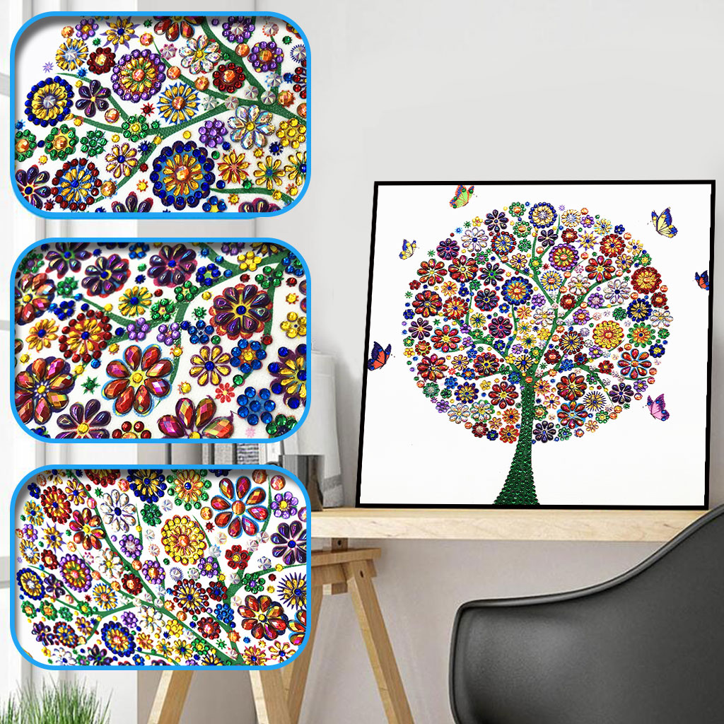 Sashiko Diamond Embroidery Winter Flower Tree Special Shaped 5d Painting Rhinestone Drill DIY Crystal