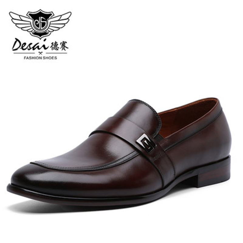Image 2 - Desai Male Shoes Genuine Leather 2020 New Metal Decoration  Leather Handmade Soft Comforable Leather Men Loafers Causal ShoesMens  Casual Shoes