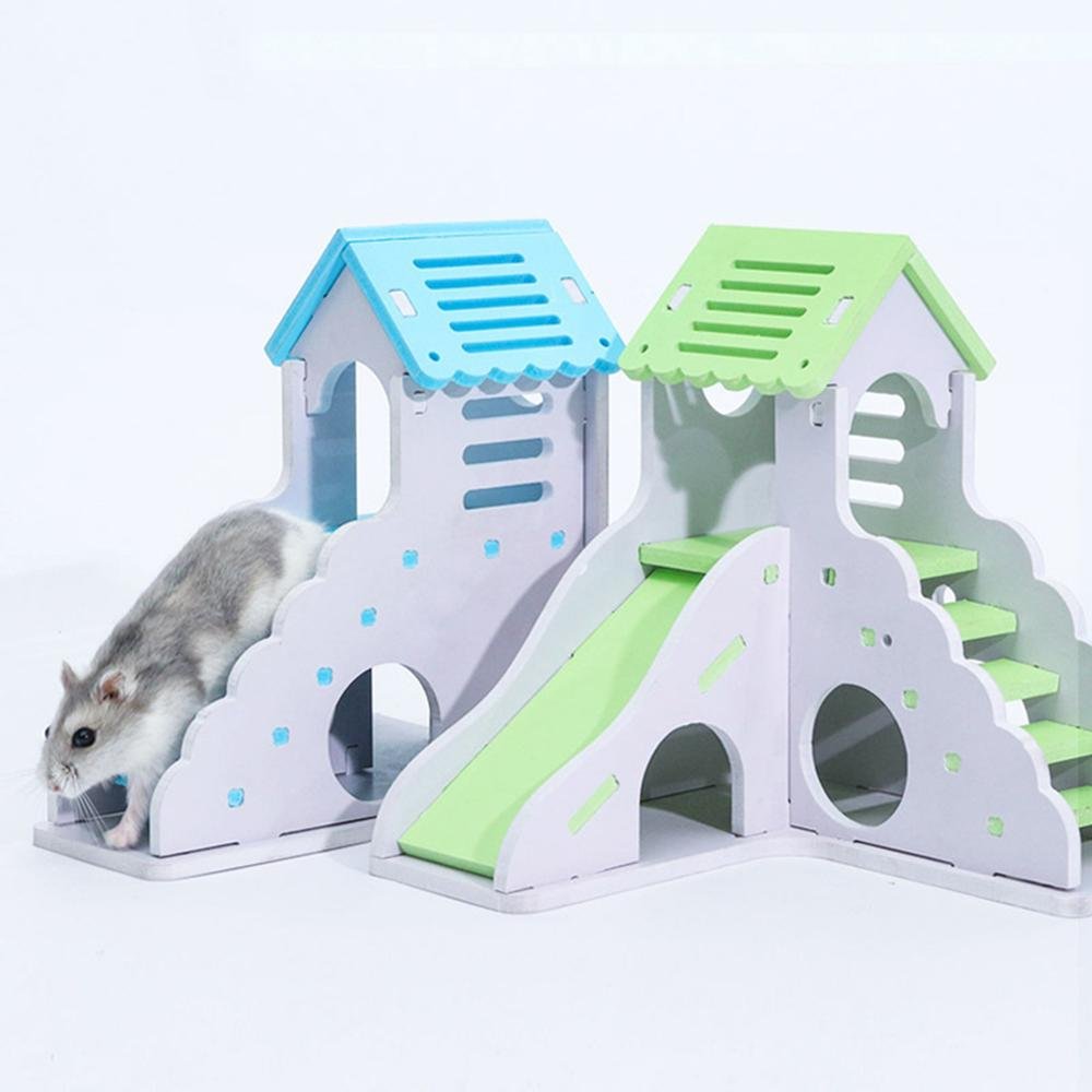 Cute Mini Wooden Hamster House Staircase Chinchillas Guinea-pig Nest Bed For Small Pets Small Pets Cage Toys