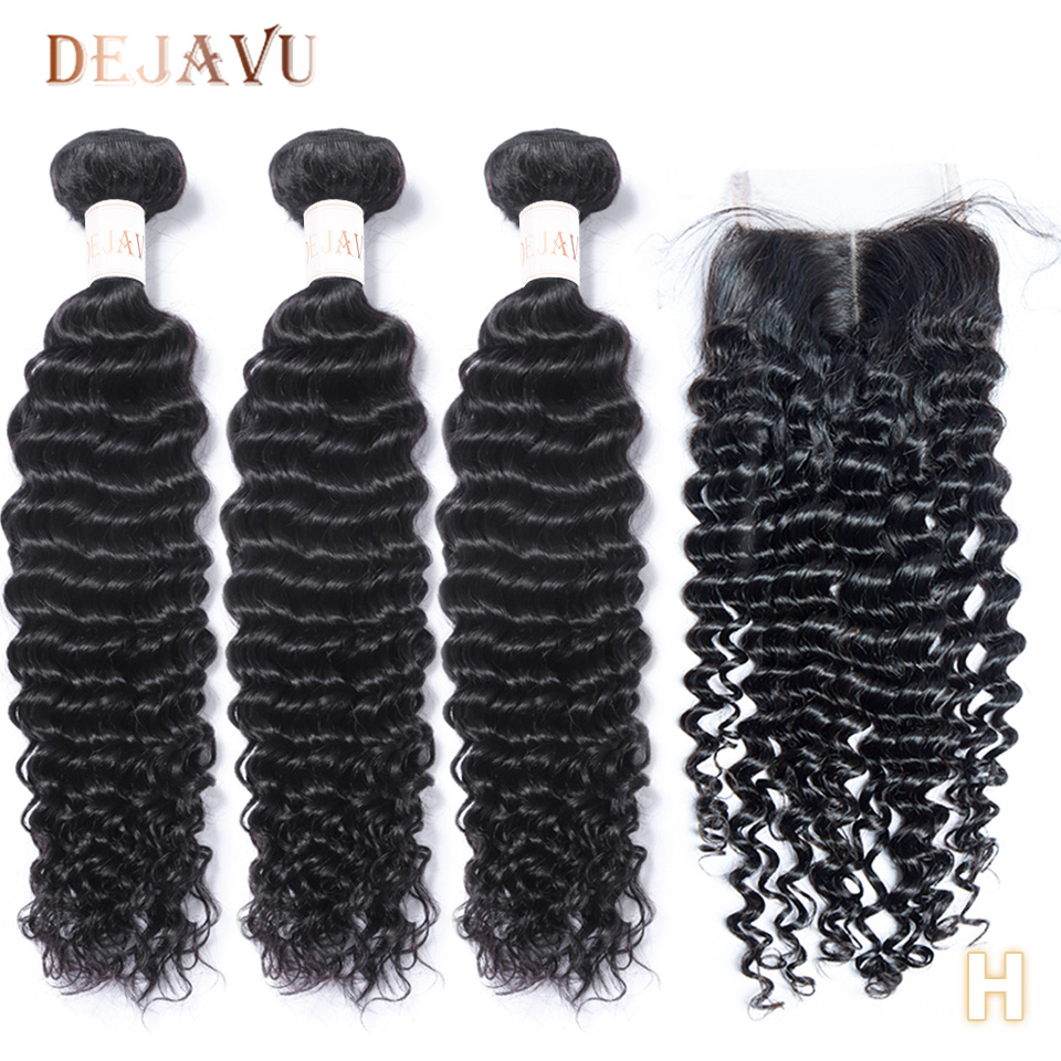 DEJAVU Deep Wave 3 Bundles With Closure Non-Remy Peruvian Hair Bundles And 4*4 Closure Natural Color Bundles With Lace Closure