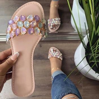 Summer Women Slippers 2021 Shoes Sandals Open Toe Flat Rhinestone Outdoor Fashion Plus Size 42