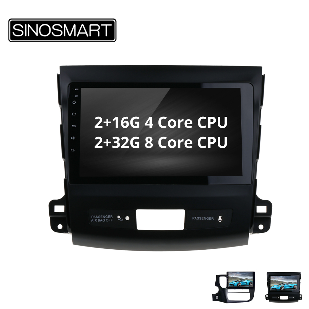 SINOSMART 4/8 core CPU, 2G RAM Android 8.1 Car GPS Navigation for Mitsubishi Outlander/Peugeot 4007/Citroen C-Crosser