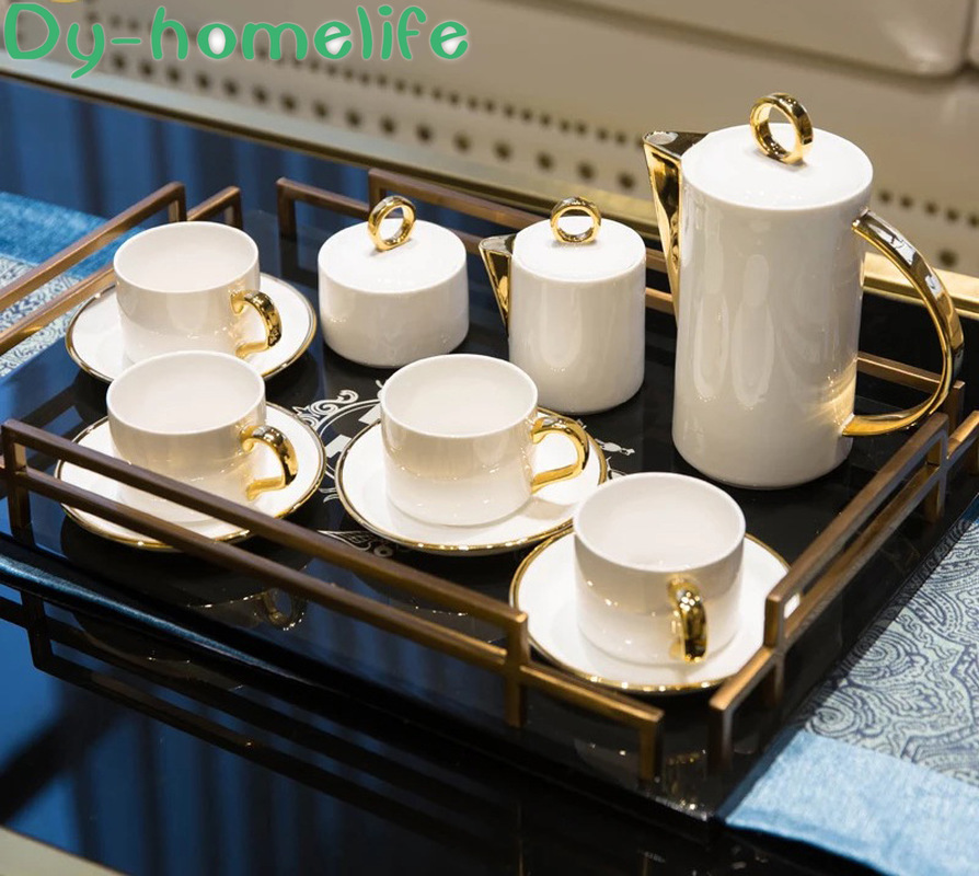11 Piece Set Nordic Simple White Phnom Penh Ceramic Coffee Tea Set Household Bone Porcelain With Saucer Tea Cup Pot Coffee Set