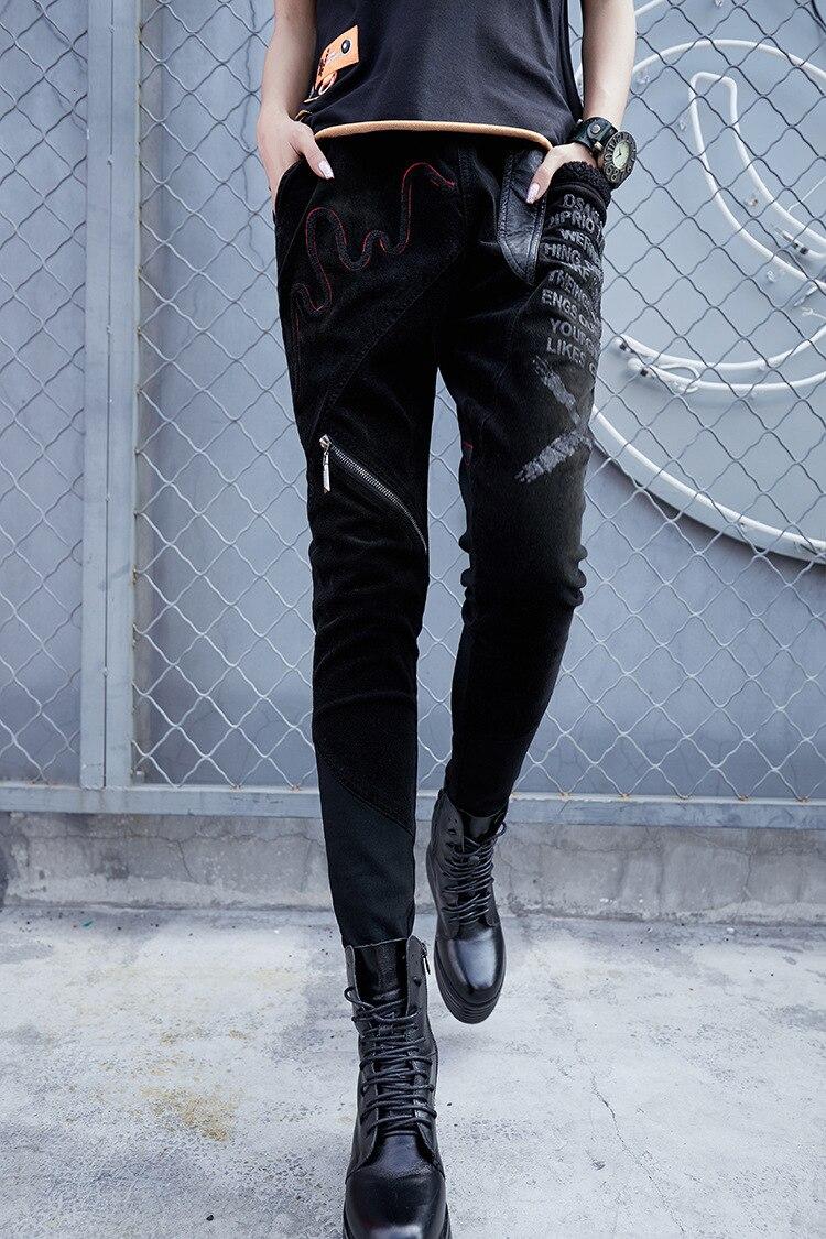 prined 最大ルル春のファッションヴィンテージ弾性ハーレムパンツ韓国レディースブラックスキニーリッピング LuLu Health 47