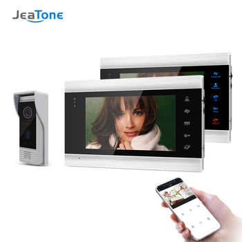 Jeatone 7 Inch Wireless Wifi Smart IP Video Door Phone Intercom System with 2 Night Vision Monitor + 1 Rainproof Doorbell Camera yobangsecurity 7 inch wired doorbell door video phone intercom 1 camera 1 monitor night vision with electronic lock rfid keyfobs
