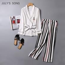 Julys 歌ストライプズボン春 2 個女性 v ネック長袖の綿のパジャマセット女性パジャマ秋ホームウェア
