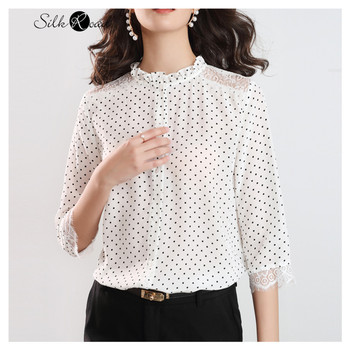 Silviye Splicing lace white wavelet dot silk shirt summer light mature top 2020 popular new silk shirt openwork lace splicing striped t shirt with pocket