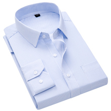 Plaid Shirts Regular-Fit Classic-Collar Business Long-Sleeve Striped Men's New for
