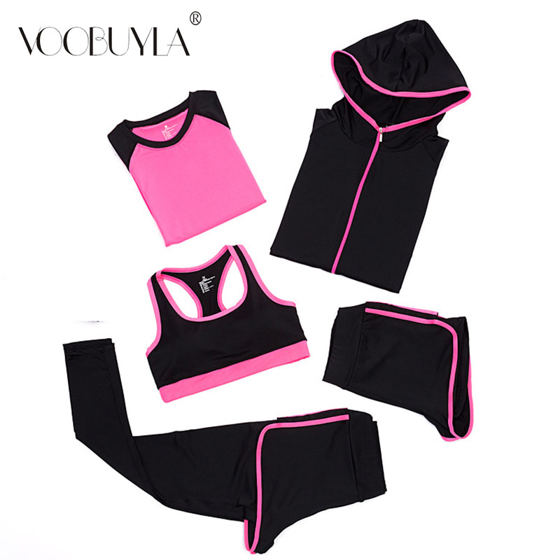 Voobuyla New Yoga Suits Women Gym Clothes Fitness Running Set Tracksuit Sports Bra Sport Leggings Yoga