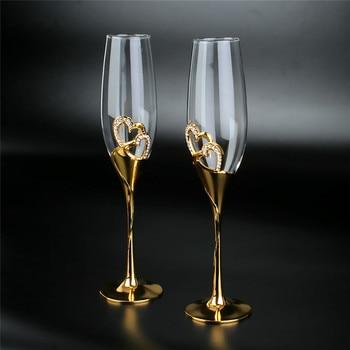 2Pcs/Set Crystal  Gold Metal Stand Flutes Wine Glasses  6