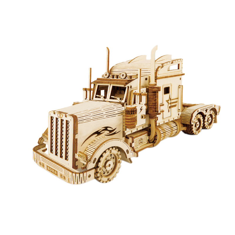 Robotime 286Pcs Classic DIY Movable 3D America Heavy Truck Puzzle Game Assembly Toy Gift