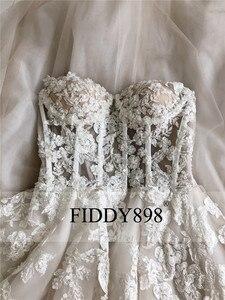 Image 3 - Boho robe de mariée longue sans bretelles Tulle a ligne cristal perles perlées dentelle robe de mariée plage robe de mariée Vestido de Novia 2020