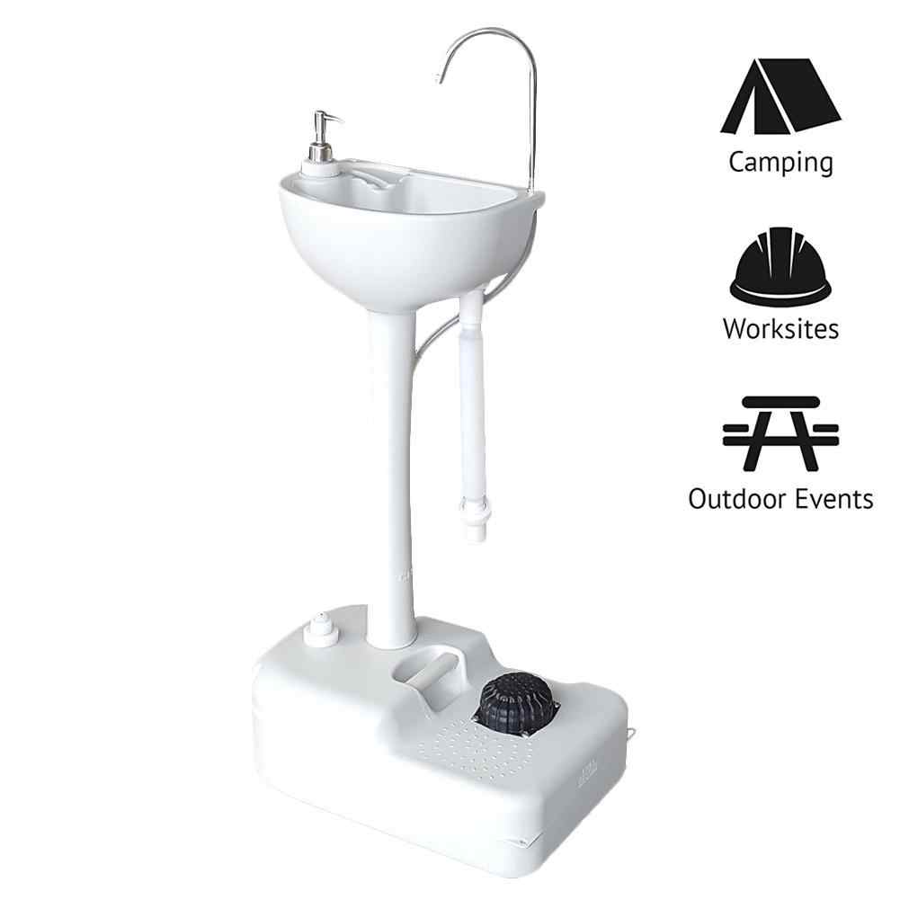 portable foot pump camping sink hand wash basin stand for outdoor camping picnic site workshop isolation hand wash station
