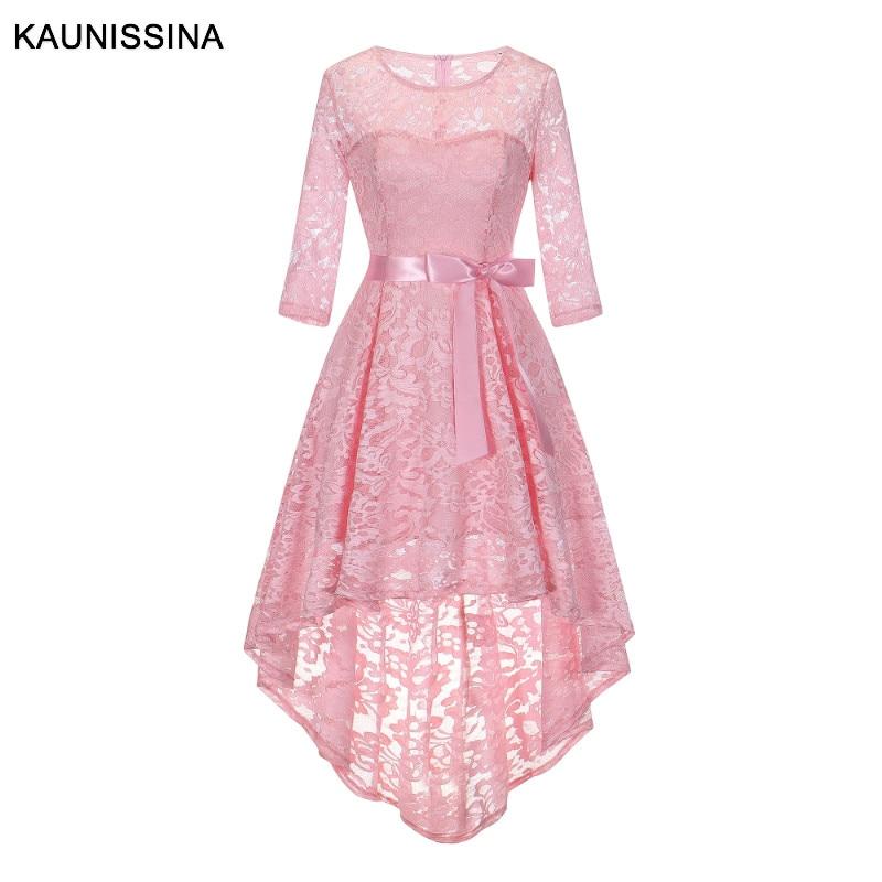 KAUNISSINA Asymmetrical Vintage Cocktail Dresses A Line Three Quarter O-Neck Homecoming Dress Banquet Prom Vestidos Lace Gown