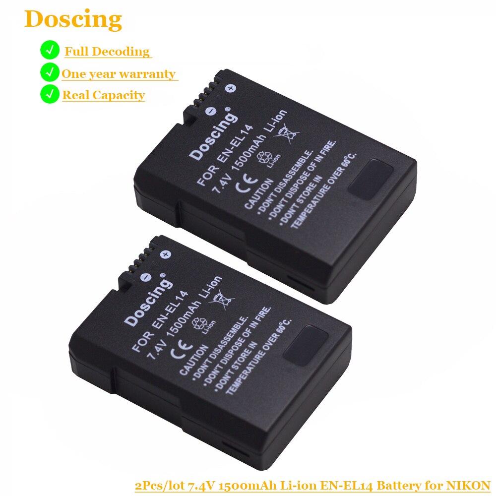 Doscing 1500mAh EN-EL14 Batteries ENEL14 EN EL14 Camera Battery For Nikon D5200 D3100 D3200 D5100 P7000 P7100 MH-24
