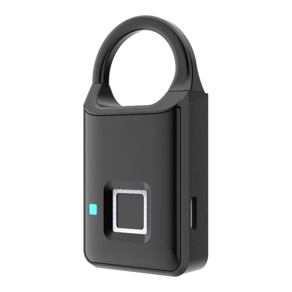 P50 Smart Fingerprint Padlock Keyless USB Rechargeable Quick Unlock Door Lock Zinc Alloy Metal Self Developing Chip