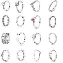 Anillo de corona exótica para mujer, de plata de ley 2020 auténtica, anillos de rayas con piedras, joyería DIY, anillos S925 925