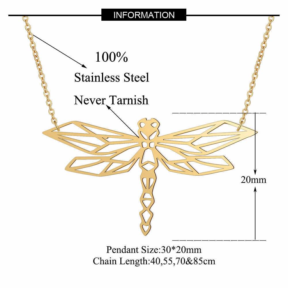 100% ze stali nierdzewnej zwierząt Dragonfly moda naszyjnik dla kobiet kobiece Trendy biżuteria unikalna konstrukcja wisiorek naszyjniki hurtownie