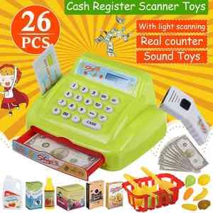 Toys-Set Counter Cash Register Groceries-Toys Simulation-Supermarket Role-Play Checkout