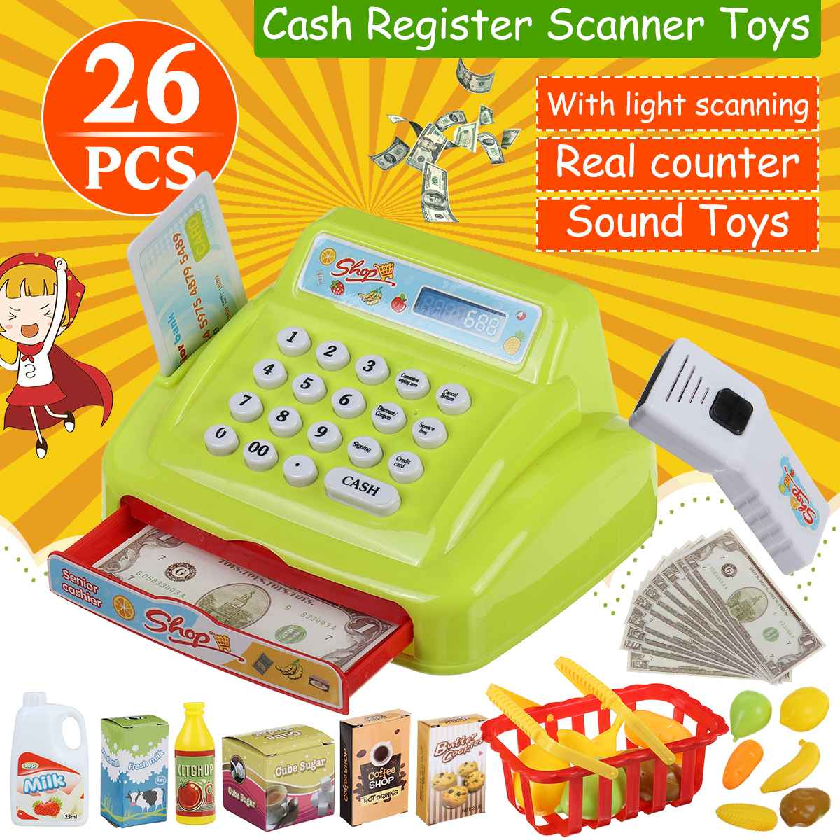 26PCS Kids Groceries Toys Simulation Supermarket Checkout Role Play Counter Cash Register Toys Set Children Pretend Play Gifts