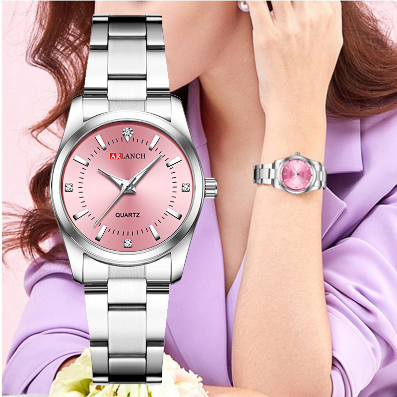 Women Pink Bracelet Watch Luxury Brand Small Ladies Casual Silver Steel Belt Quartz Dress Wrist Watches Diamond Waterproof Clock