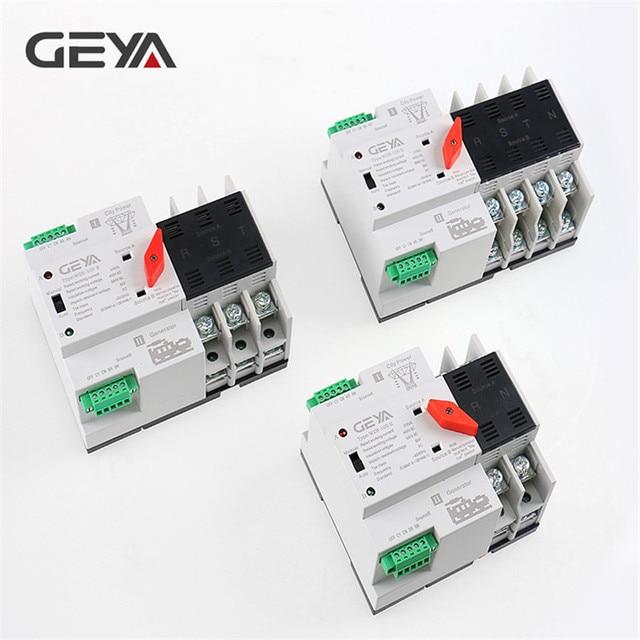 Geya din interruptor transferência de potência, frete grátis, 110v 220v, pc, interruptor de transferência automática 63a 100a, uso doméstico, 50/60hz