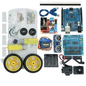 Image 1 - جديد تجنب تتبع المحرك الذكية سيارة روبوت الهيكل عدة سرعة التشفير صندوق بطارية 2WD وحدة أشعة فوق الصوتية لعدة اردوينو