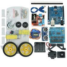 새로운 회피 추적 모터 스마트 로봇 자동차 섀시 키트 속도 인코더 배터리 박스 arduino 키트 용 2wd 초음파 모듈