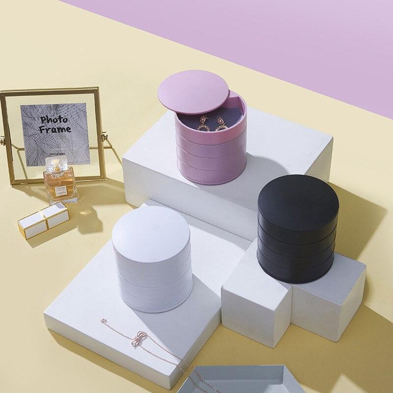 Ювелирные изделия коробка для хранения 4 Слои вращающиеся ювелирные