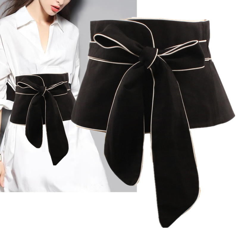 2020 New Spring Black White Color Long Bow Bandage Exceed Width Belt Women Fashion Tide All-match Cummerbunds