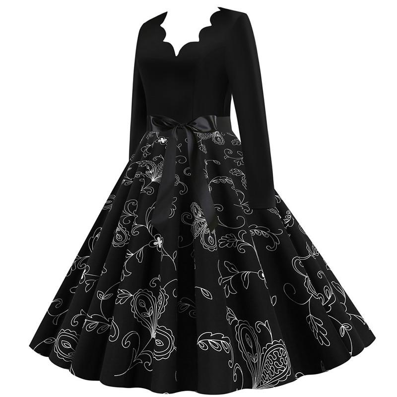 Women Long Sleeve Winter Vintage Dresses Sexy Black Music Note Print V-neck Rockabilly Pin up Party Dress Vestidos Plus size 656